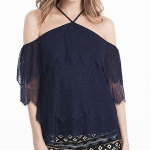 WHBM NWT Navy Off The Shoulder Lace Top Size M